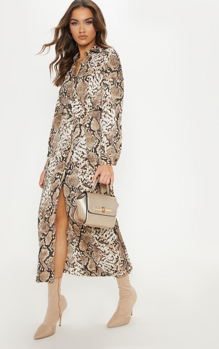 Brown Satin Snake Midi Dress 1