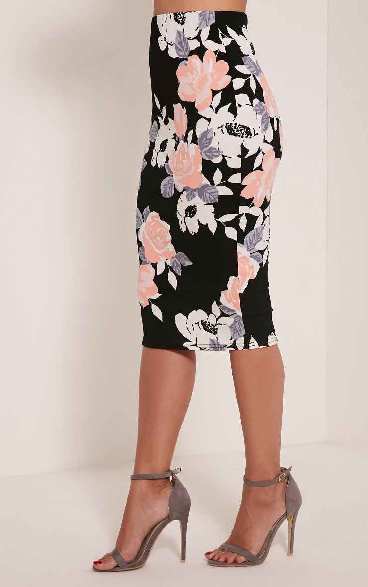 Francesca Peach Rose Print Midi Skirt 4