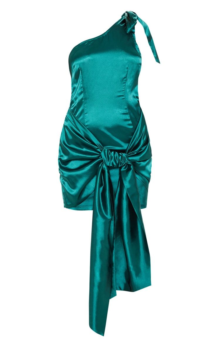 Emerald Green Satin One Shoulder Knot Detail Bodycon Dress 3