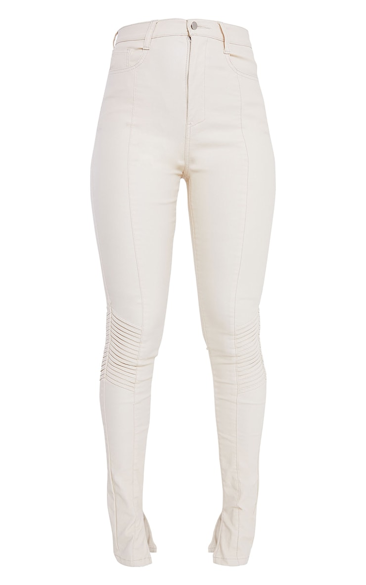Stone Coated Long Leg Split Hem Biker Jeans 5