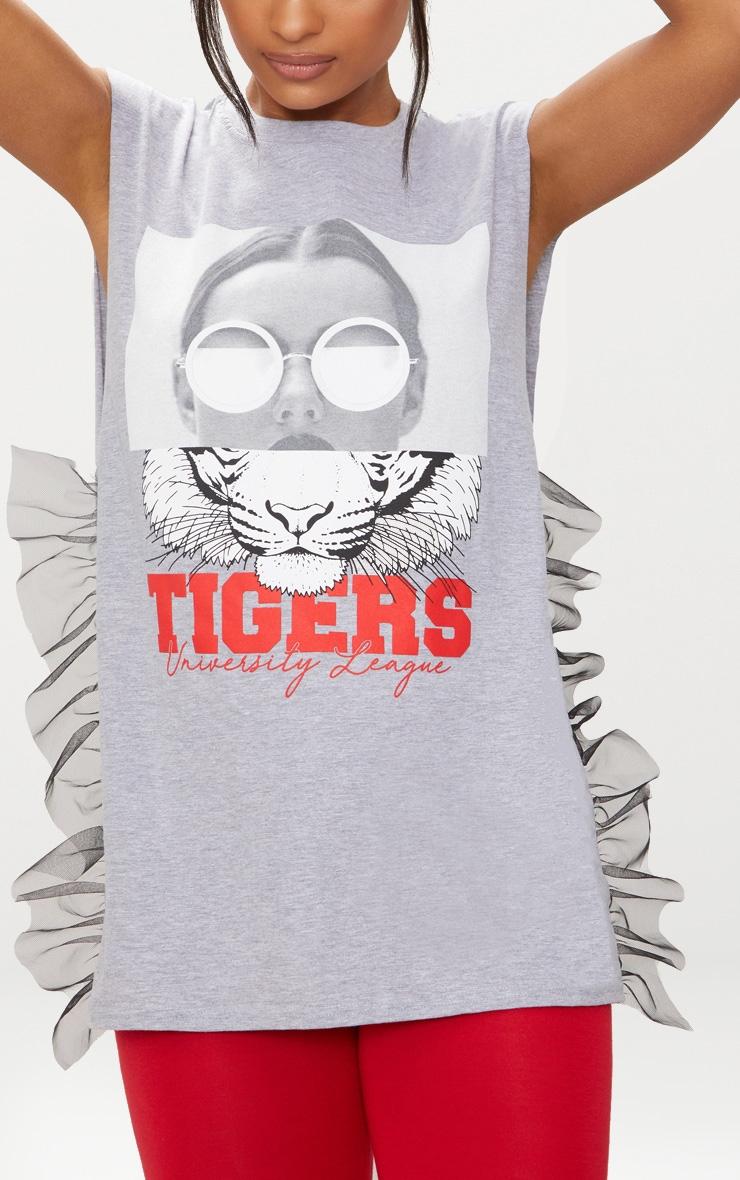 Grey Printed Mesh Tulle Sleeveless T Shirt 4