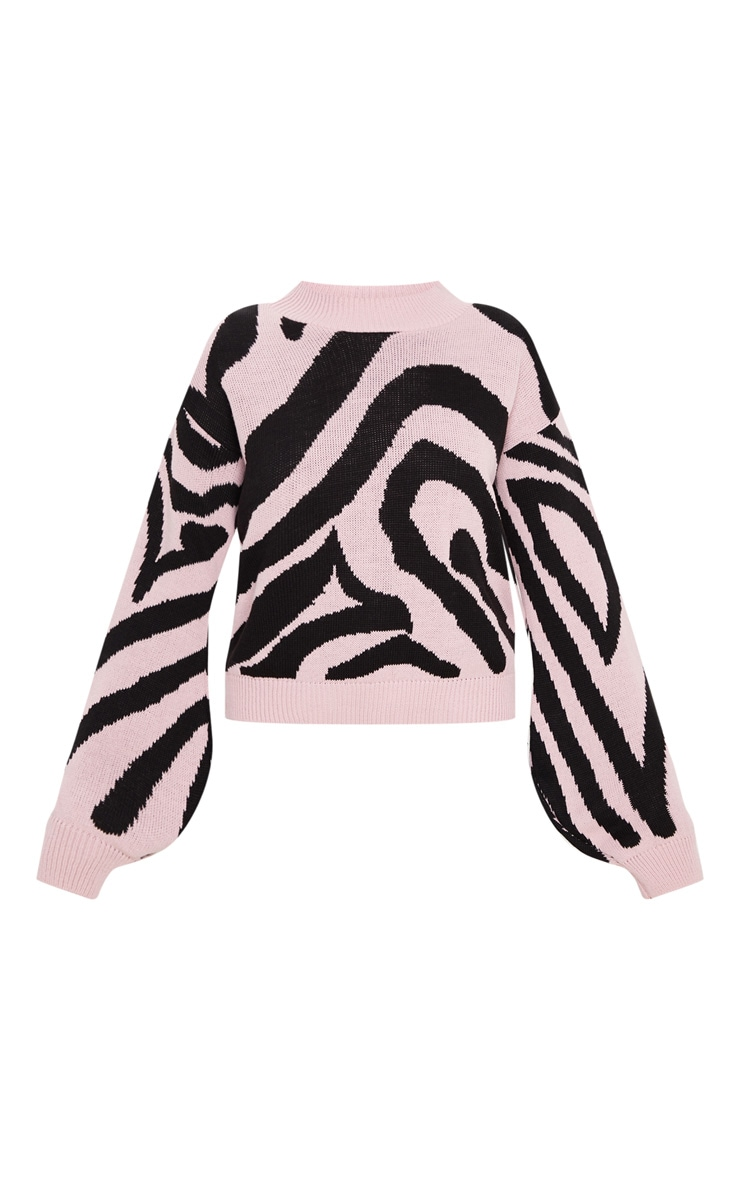 Rose Zebra Stripe High Neck Sweater 3