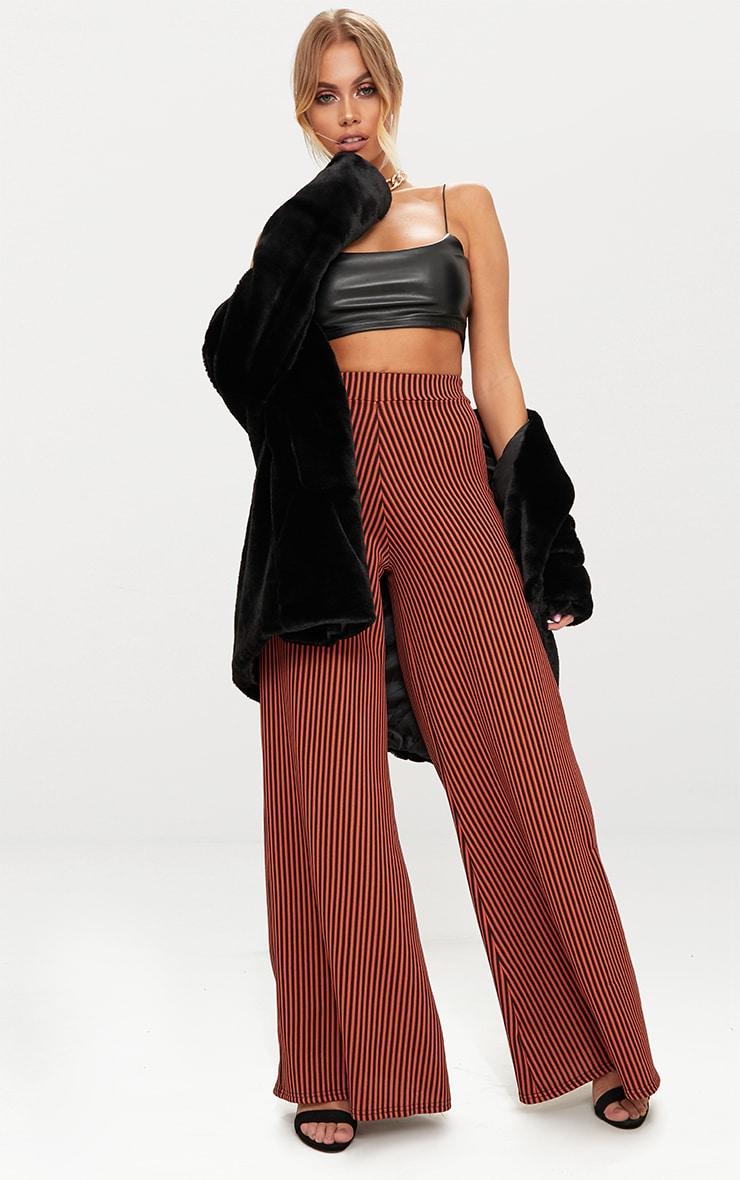 Rust Ribbed Pinstripe Wide Leg Trousers 1