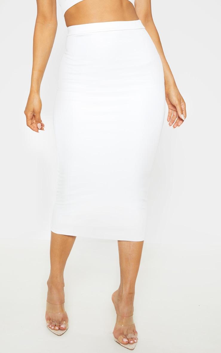 White High Stretch Midi Skirt 2