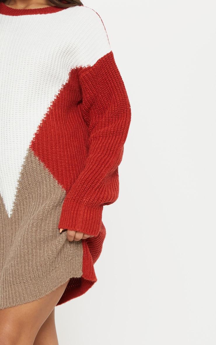 Cream Colour Block Knitted Jumper Dress 5