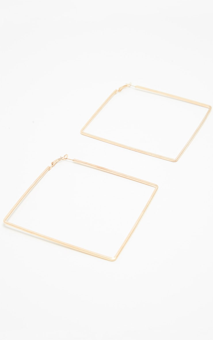 Gold Square Large Hoop Earring 2