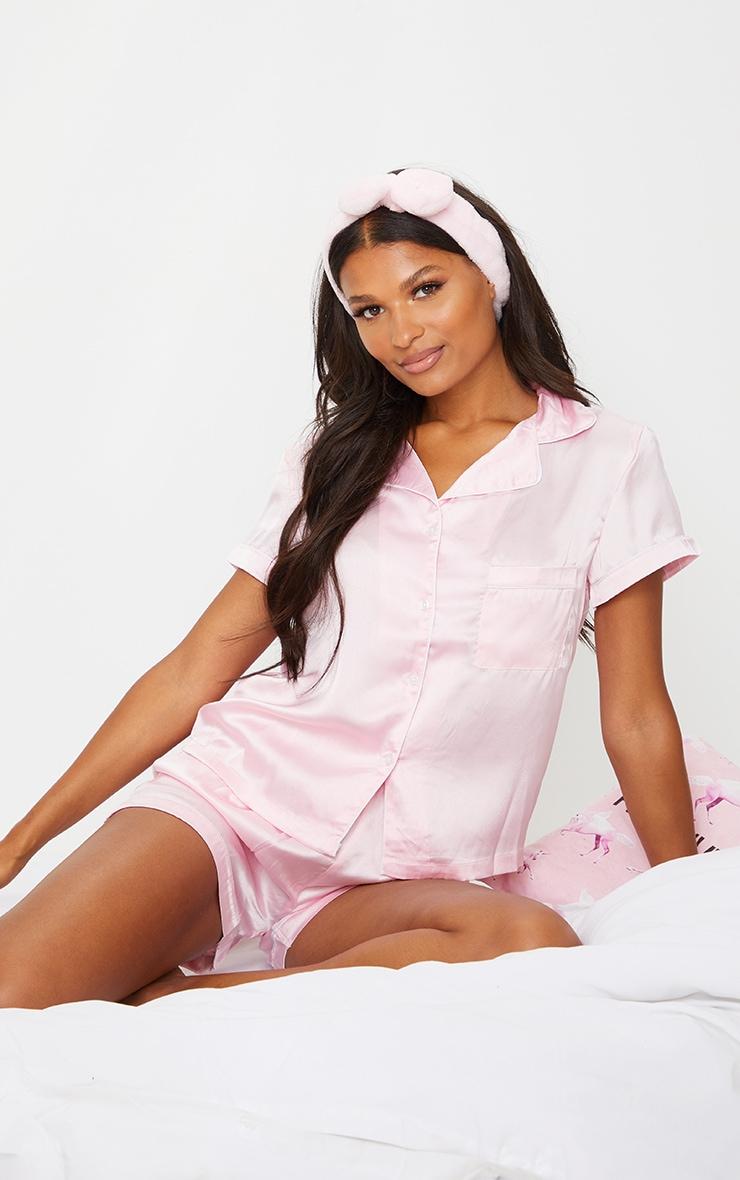 Pink With Piping Detail Satin Pocket PJ Shorts Set 3