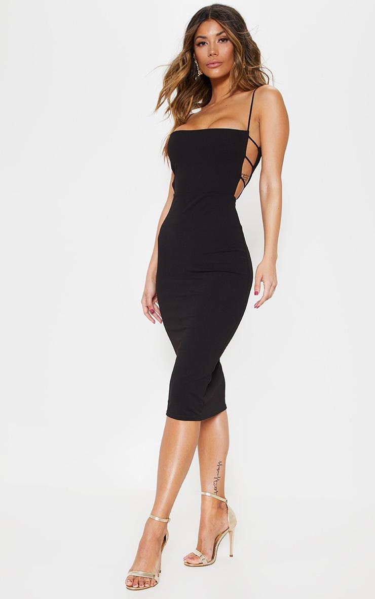 Black Side Cut Out Detail Midi Dress 1