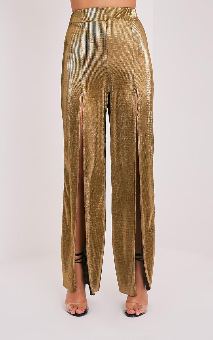 Zayda Gold Metallic Split Front Trousers 2