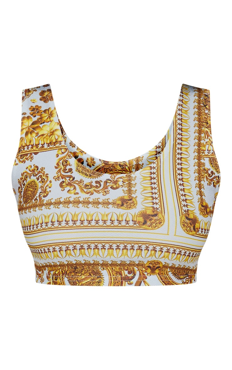 Light Blue Scarf Print Crop Top 3