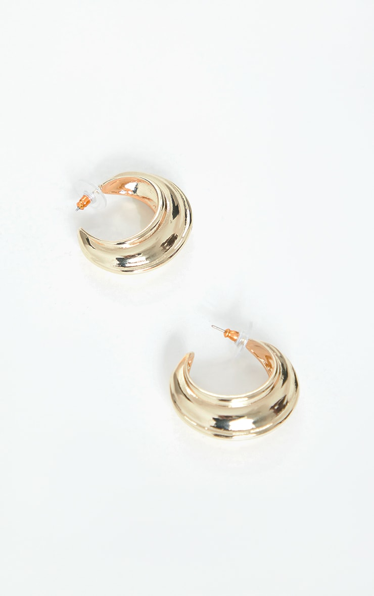 Gold Chunky Ribbed Hoop Earrings 2