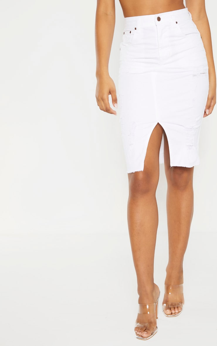 Tall - Jupe mi-longue en jean déchiré blanc 2
