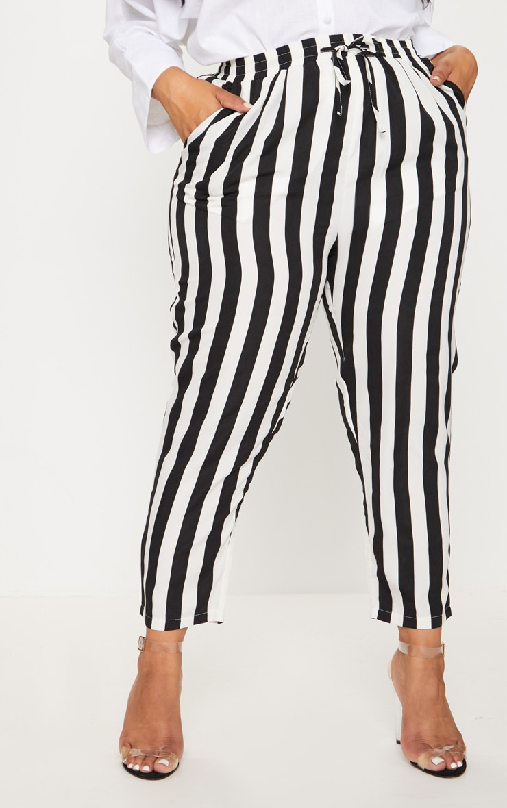 Plus Black Striped Casual Pants  2