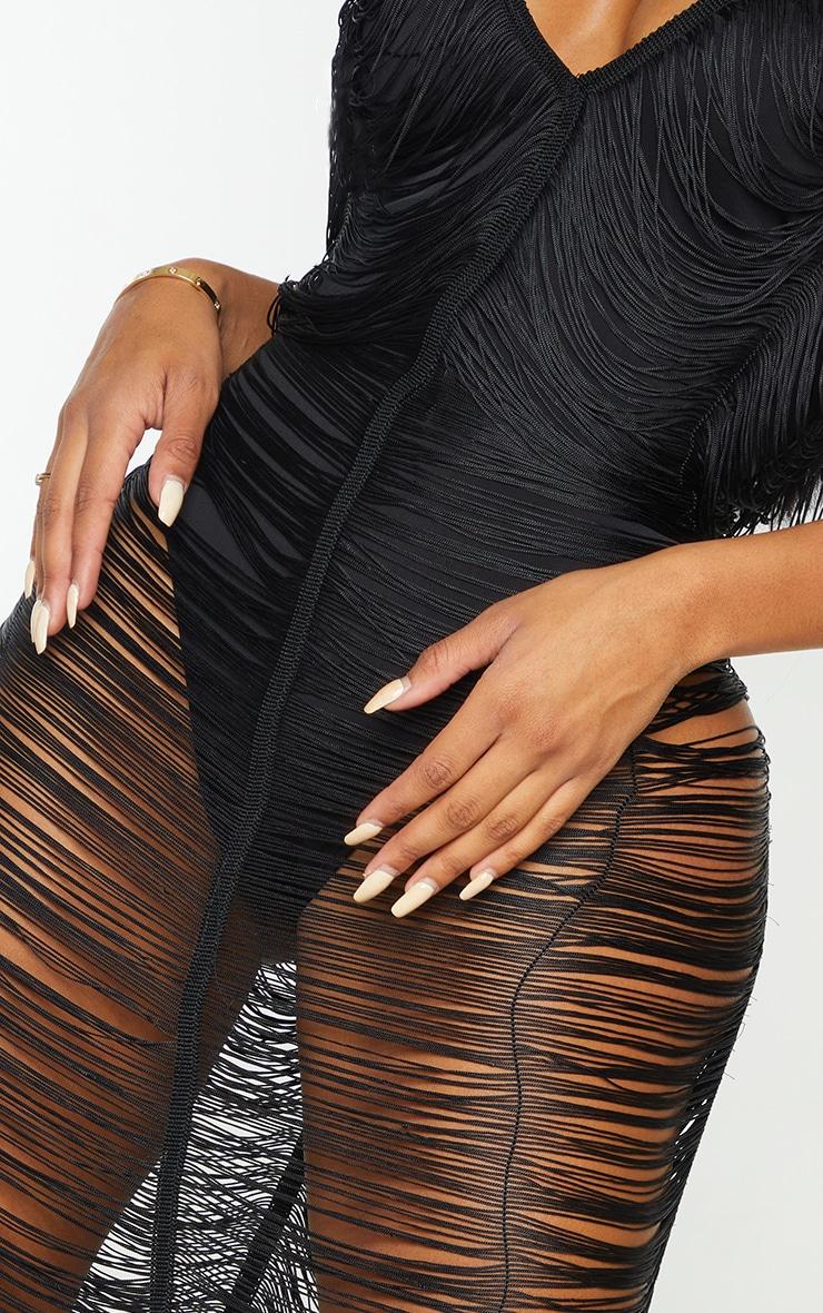 Shape Black Fringe Detail Midaxi Dress 4
