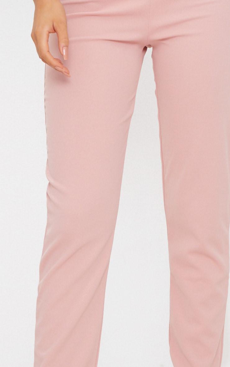 Pastel Pink Slim Leg Crepe Trousers 5