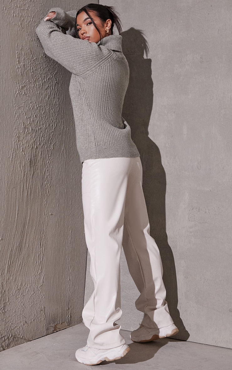 Khaki Recycled Roll Neck Oversized Longline Sweater 2