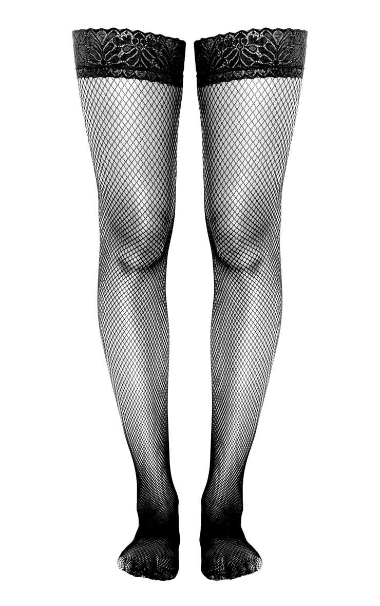 Black Lace Top Fishnet Hold Ups 3