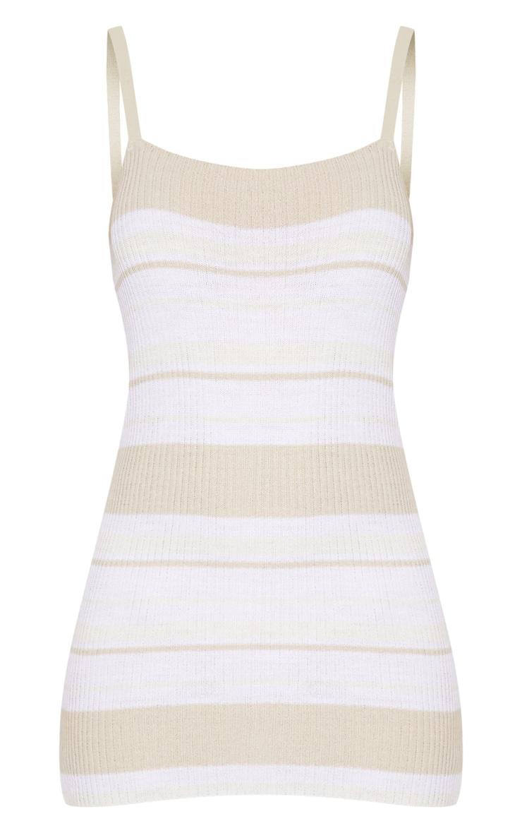 Stone Rib Knit Straight Neck Stripe Dress 3