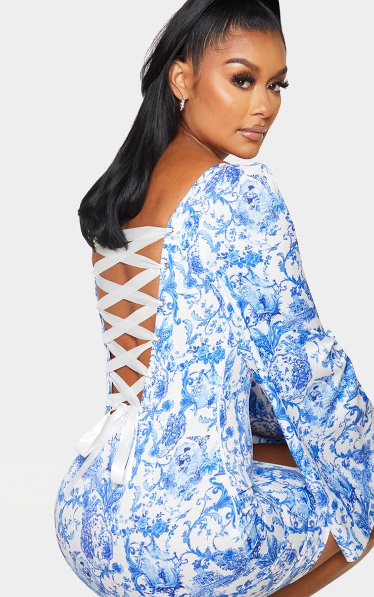 Blue Porcelain Print Satin Lace Up Back Bodycon Dress 4
