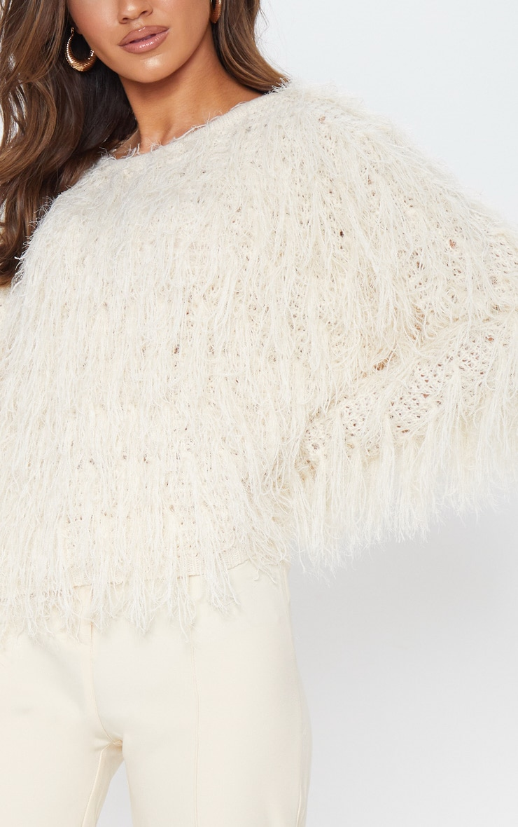 Stone Fluffy Knit Cropped Jumper 5