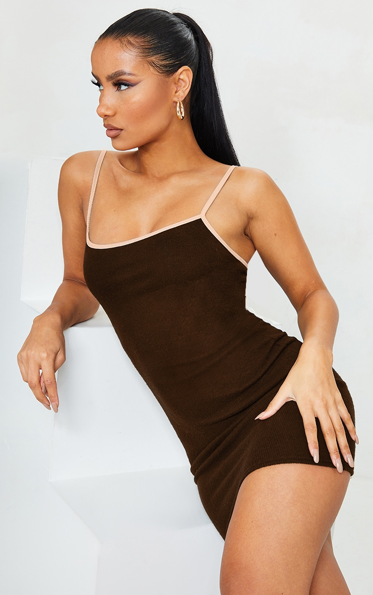 Chocolate Brushed Rib Contrast Detail Strappy Bodycon Dress