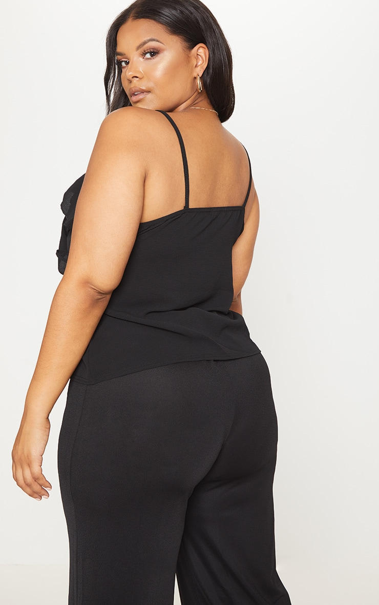 Plus Black Chiffon Frill Cami Top 2