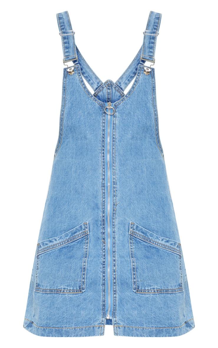 Mid Wash Zip Front Denim Pinafore Dress 3