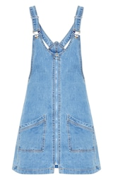 b8bdd39971 Mid Wash Zip Front Denim Pinafore Dress image 3