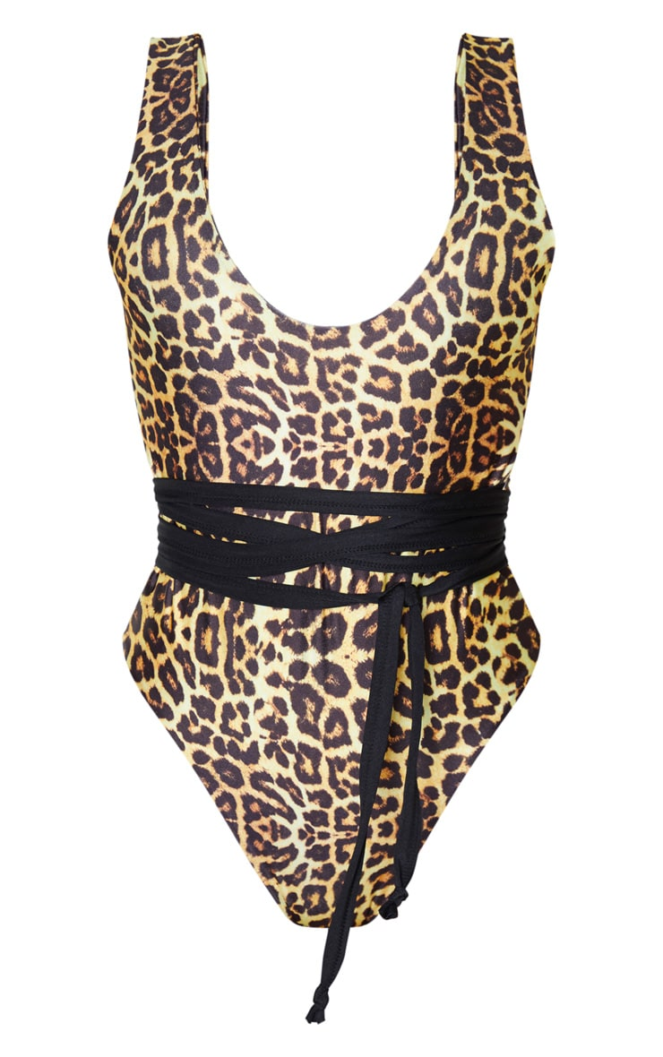 Maillot de bain une pièce léopard à décolleté plongeant et lien à la taille 3