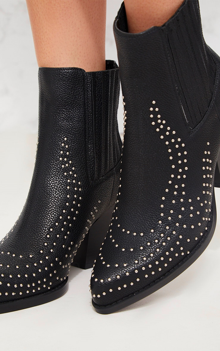 Black Studded Western Boot 4