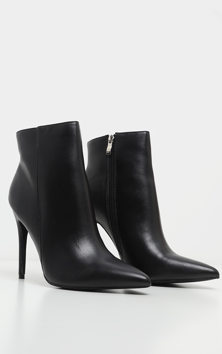 Black PU Point Toe Ankle Boot 1