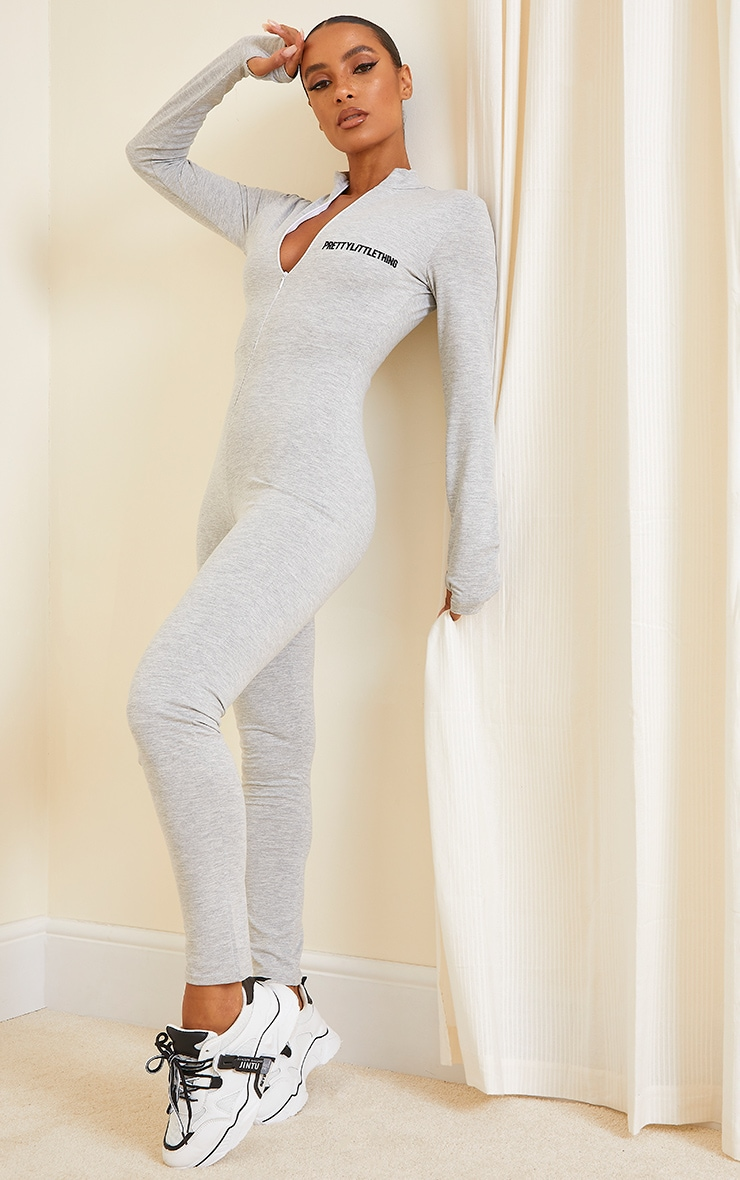PRETTYLITTETHING Grey Marl Embroidered Zip Front Catsuit 3