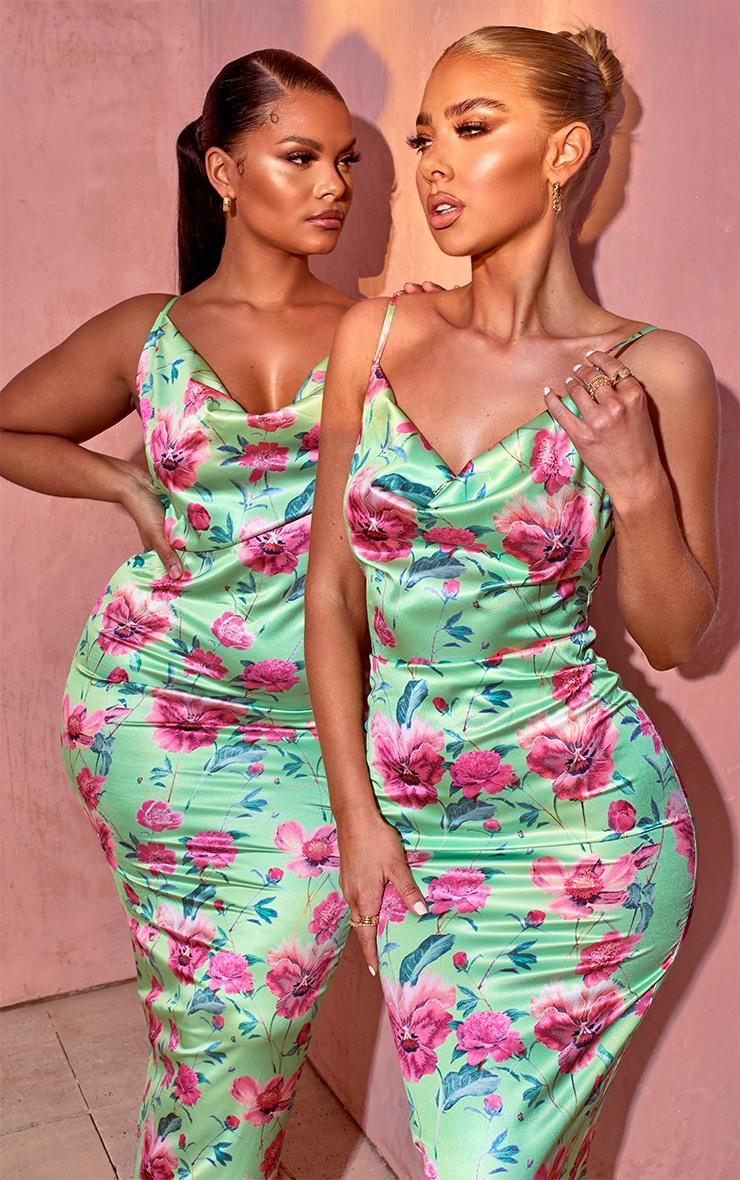 Green Floral Print Satin Cowl Neck Maxi Dress 4