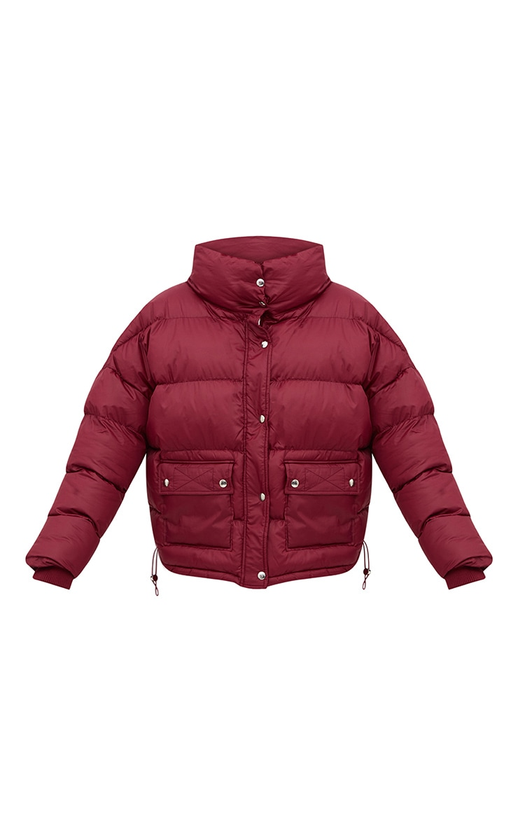 Burgundy Oversized Puffer Jacket with Button Pockets 3