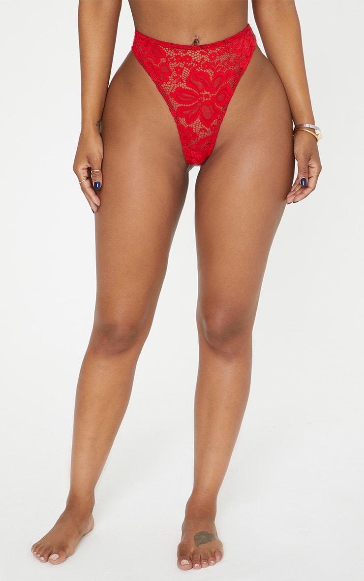 Shape Red Lace Thong 4