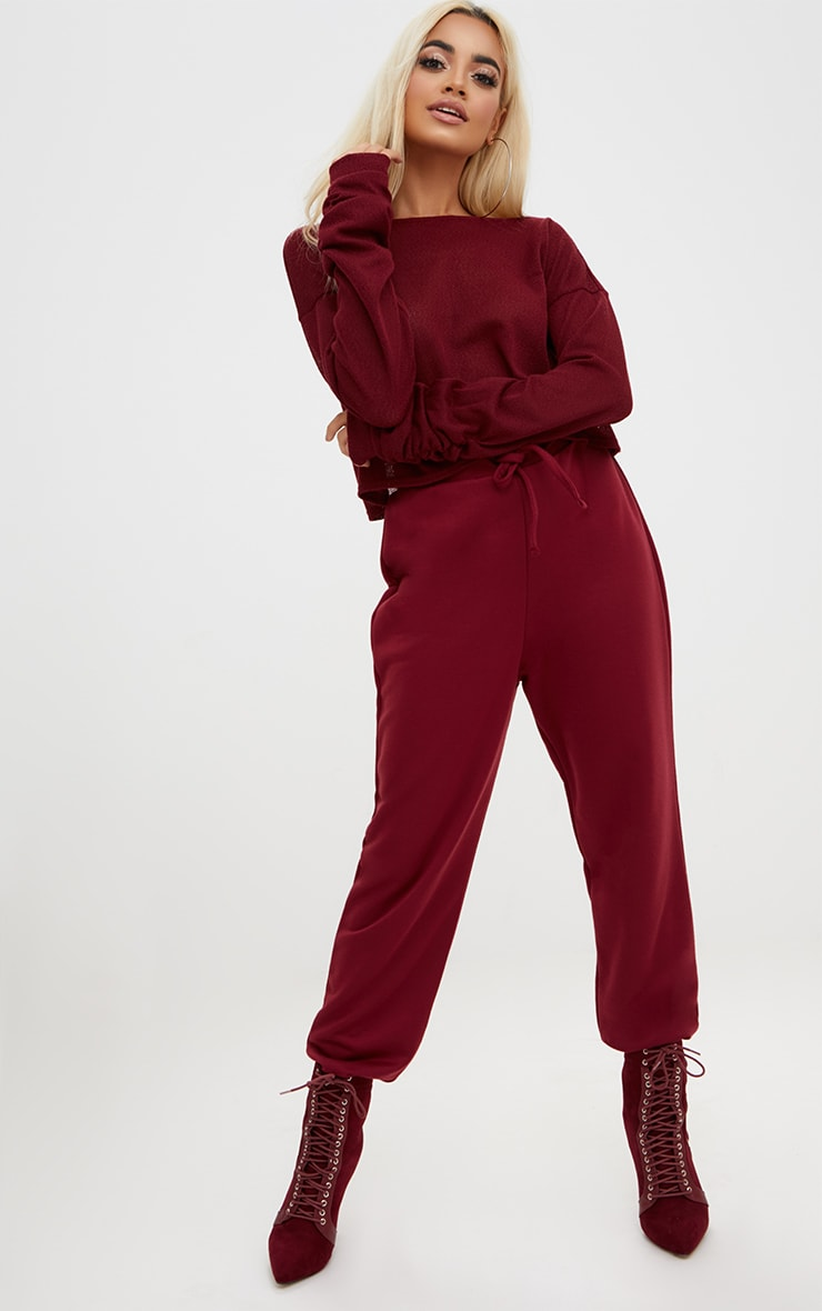 Maroon Lightweight Knit Ruched Sleeve Crop Top  4