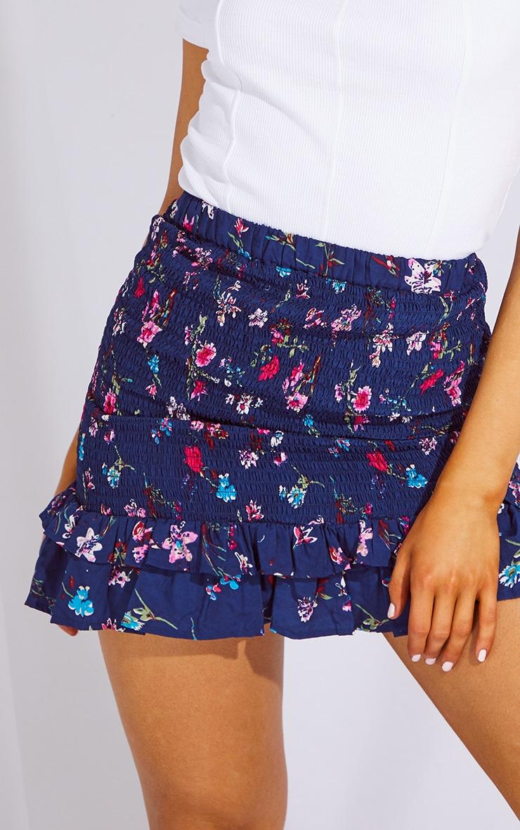 Navy Woven Shirred Frill Hem Mini Skirt 5