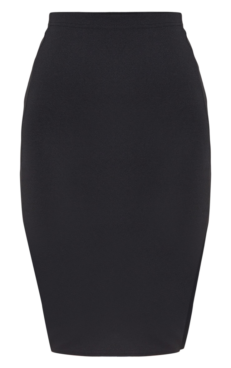 Basic Black Split Midi Skirt  3