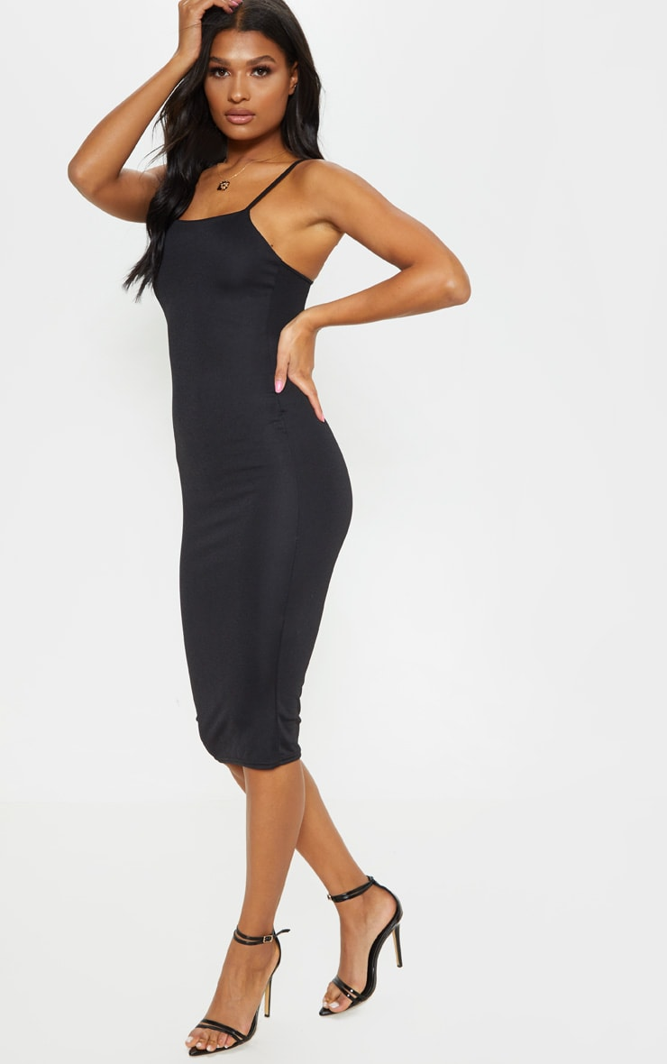 Essential Black Cotton Blend Strappy Midi Dress 4