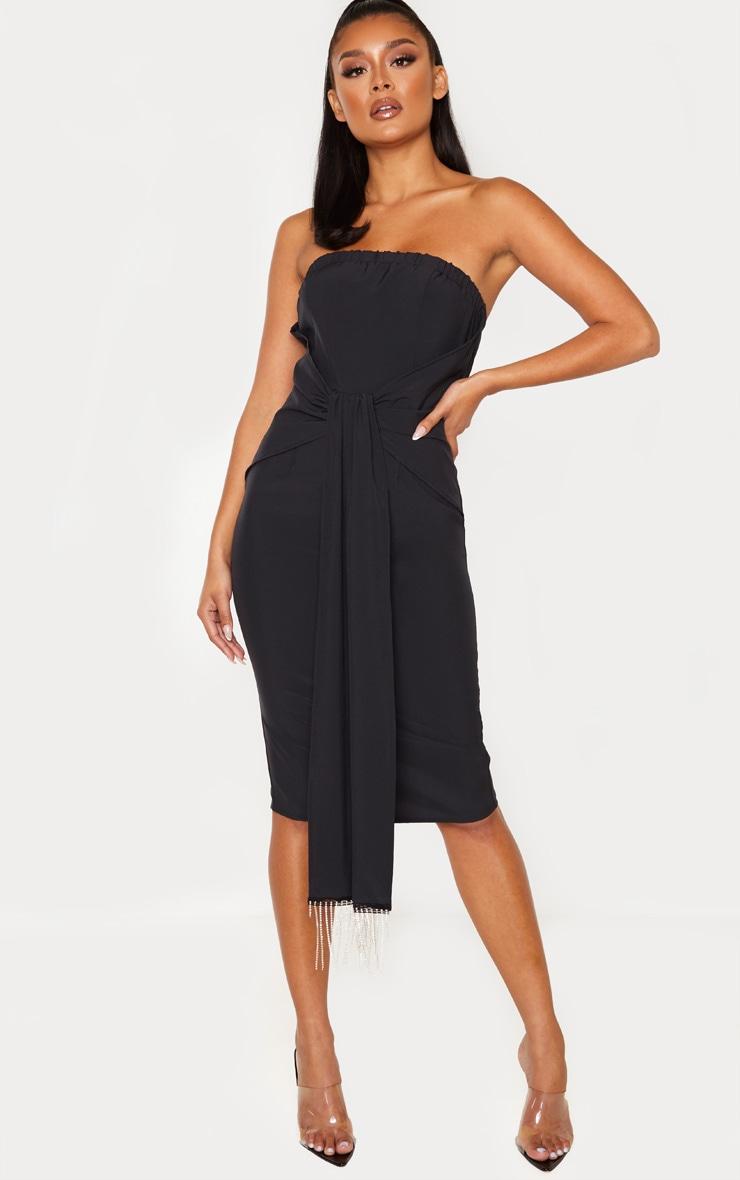 Black Jewelled Tassel Bandeau Drape Midi Dress 1
