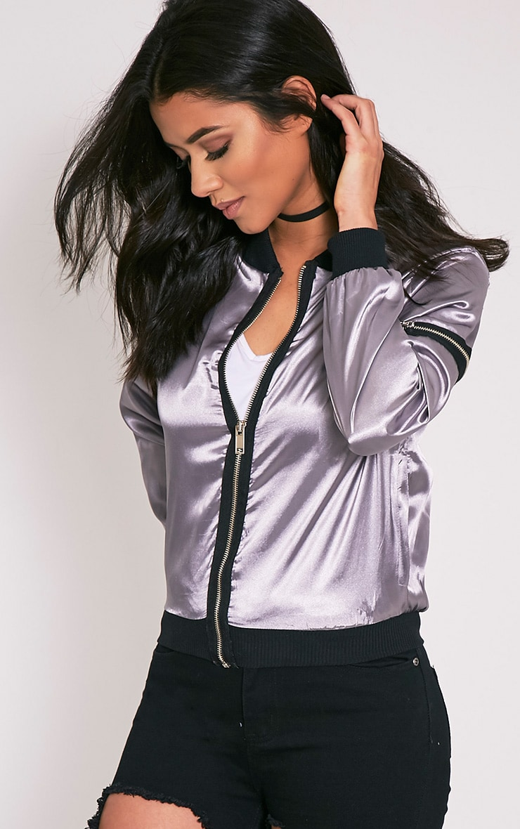 Zaynab Grey Lightweight Satin Bomber Jacket 8