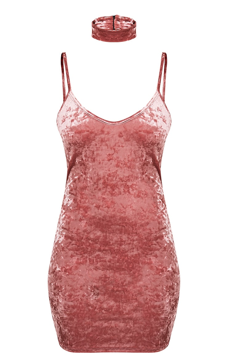 Zarah Dusty Pink Velvet Choker Neck Bodycon Dress 3