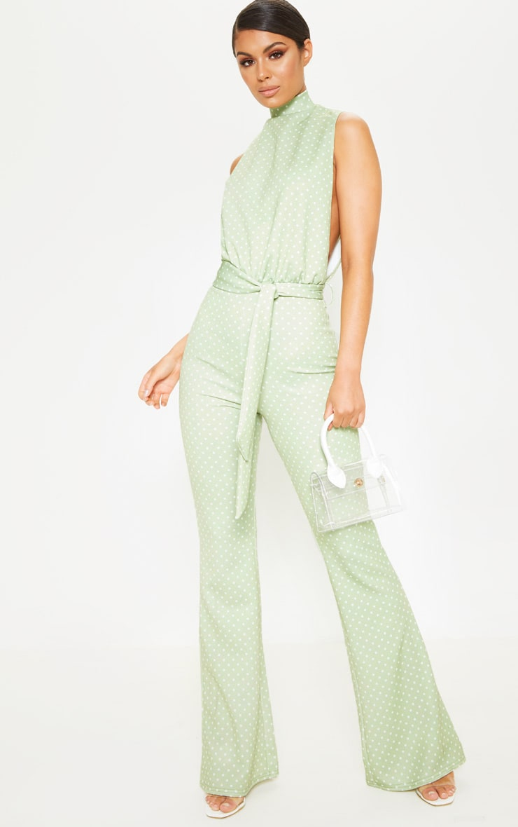 261d008ac3e9 Sage Green Polka Dot Scuba High Neck Tie Waist Jumpsuit image 1