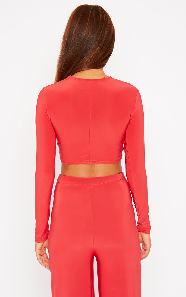 Zafia Red Knot Front Crop Top 2