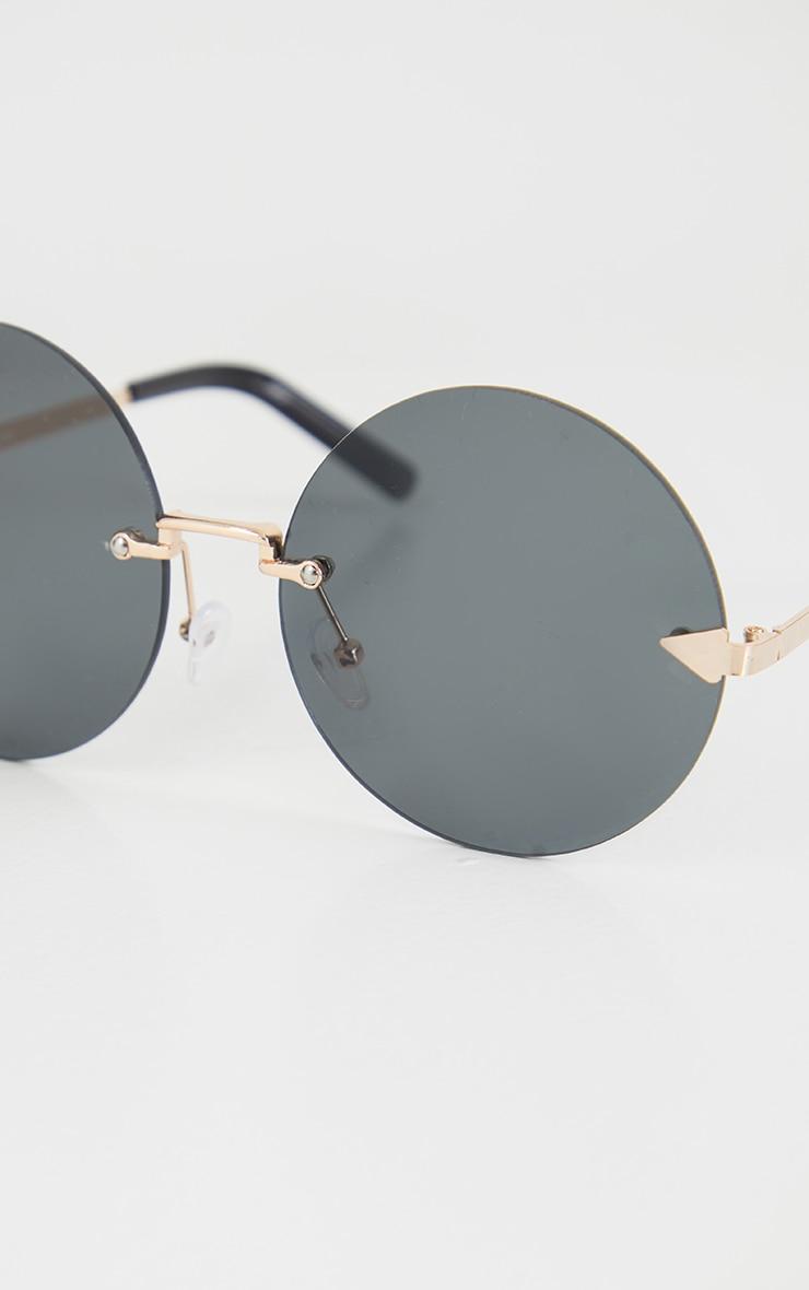 Black Round Frameless Sunglasses 4
