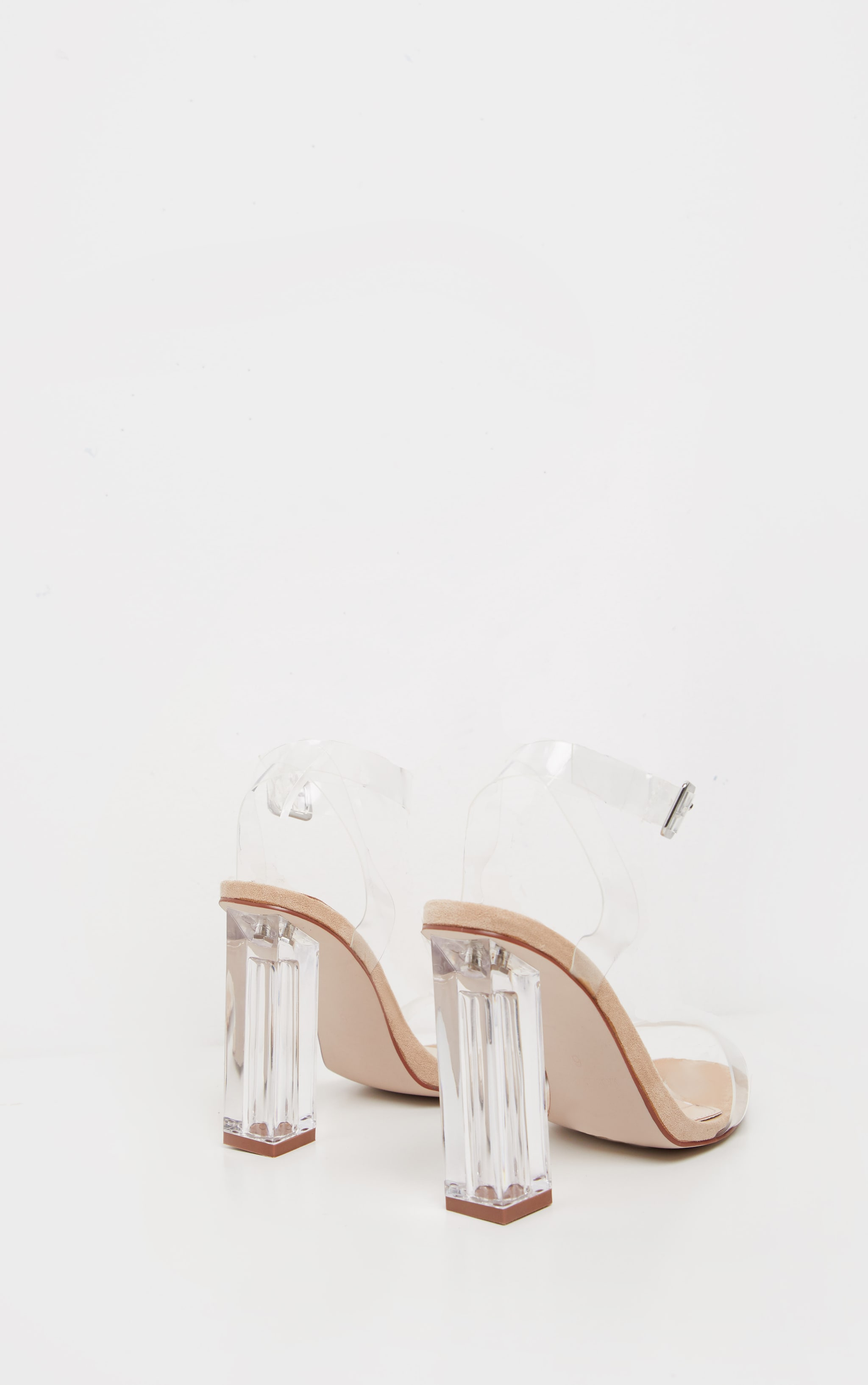 Nude Wide Fit Clear Block Heel Sandal 4