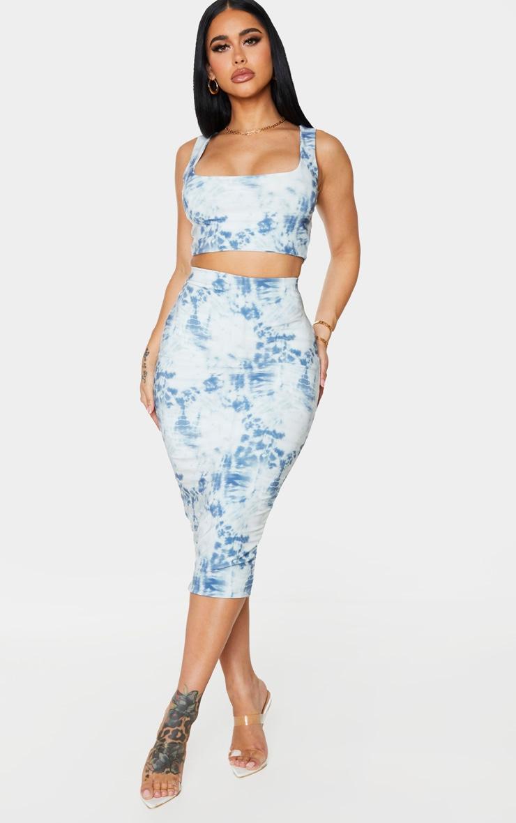 Shape Blue Tie Dye Slinky Midi Skirt 1
