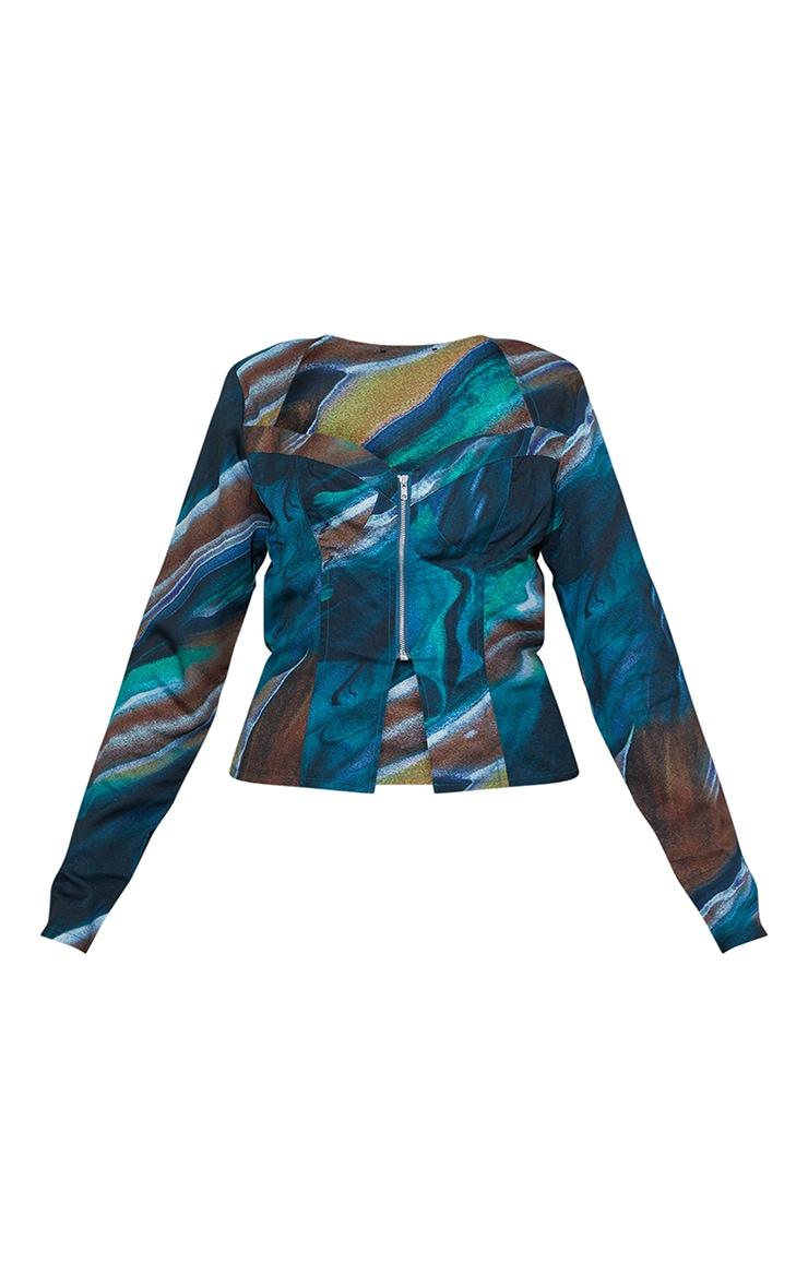 Green Abstract Print Woven Long Sleeve Zip Front Corset Top 5