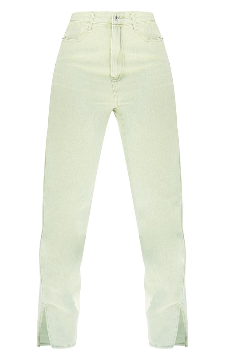 Tall Sage Green Wash Ripped Back Split Hem Jeans 5