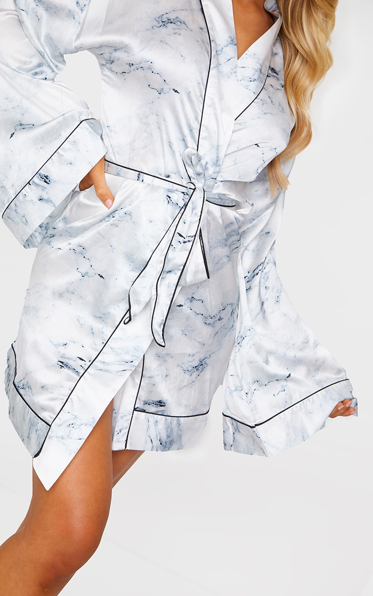 White Marble Print Satin Robe 4